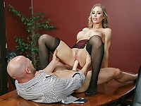 Office boss Nicole Anistons afternoon masturbation session is interrupted when her employees ...