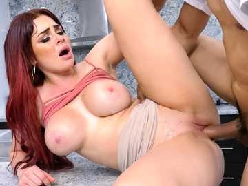 Skyla Novea keeps moaning while taking dick in the kitchen missionary style