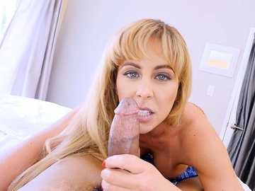 Slutty blonde woman Cherie Deville sucks cock of her stepson dry on his camera