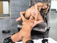 Big ass Abigail Mac sits on the face of busty lesbian girl AJ Applegate