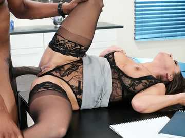 Busty business woman Abigail Mac makes your work fantasies come true