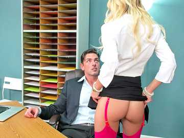 Natalia Starr convinces office security to keep work fantasies between them