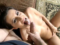 European brunette Cindy Loarn gets shot by huge dick right in her mouth