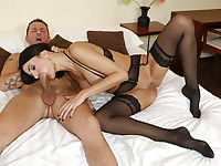 French MILF Ania Kinski dolls herself up in her hotel room, waiting for director/stud David ...