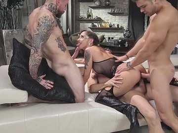 Malena asks three boys to fuck her as hard as they can simultaneously
