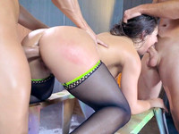 Throat fucking porn star Abella Danger takes part in deepthroat threesome