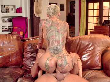 Bella Bellz is raunchy short-haired blonde sharing anal fucking with Keiran