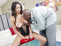 Mocha-skinned Bethany Benz has seductive, brown eyes and enticing BJ lips. Her stripper dress ...