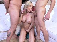 Cheating wife Brandi Love welcomes big tits lovers for MMF throat fucking